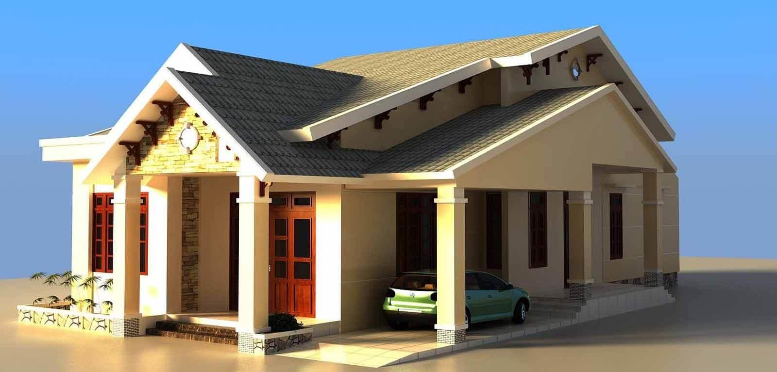 Kiến trúc nhà đẹp 1 tầng - Mẫu 2