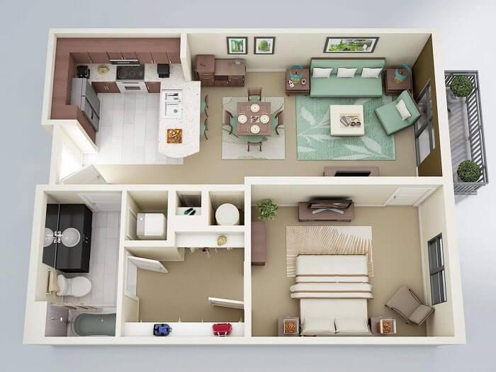 Nội thất trang trí phòng khách nhà vuông - 1