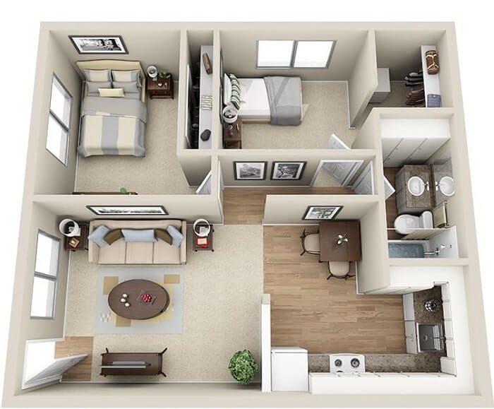 Nội thất trang trí phòng khách nhà vuông - 2