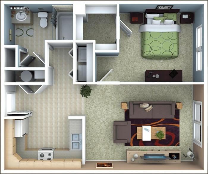 Nội thất trang trí phòng khách nhà vuông - 3