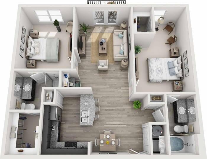 Nội thất trang trí phòng khách nhà vuông - 5