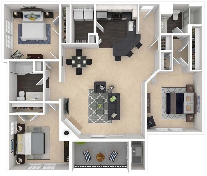 Trang trí nội thất nhà vuông có 3 phòng ngủ